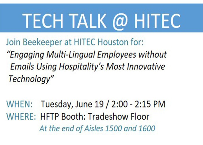 Experience Hospitality's 'Most Innovative Technology' at HITEC Houston with Beekeeper