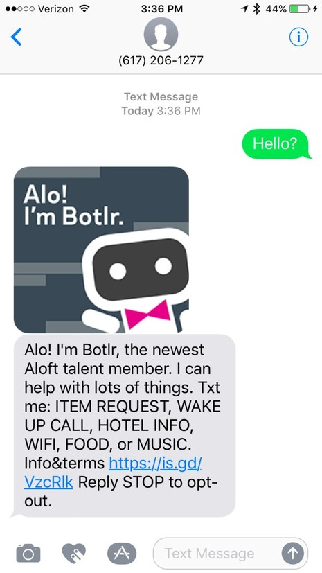 Marriott International's AI-powered Chatbots on Facebook Messenger and Slack, and Aloft's ChatBotlr, Simplify Travel for Guests Throughout Their Journey